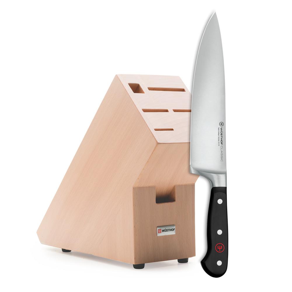 Промо набор, нож «Шеф» 20 см, подставка светлый бук Wuesthof Classic 9835-99