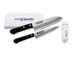 Набор: Поварской Сантоку, универсальный ножи и керамическая точилка Tojiro FD-163