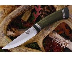 Нож туристический Bark River Scandi Green Linen Micarta Black Paper Spacer