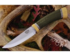 Нож туристический Bark River Scandi Green Linen Micarta Ivory Spacer