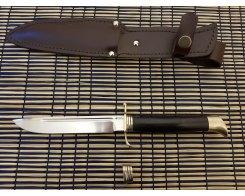 "Нож ""Финка НКВД"", сталь Х12МФ, граб,латунь, 4 мм., 15 см."