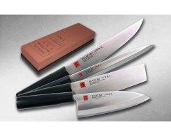 Набор японских ножей для кухни с точильным камнем KASUMI TORA SJK-1