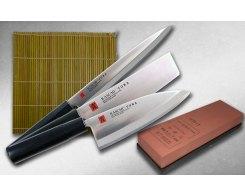 Набор кухонных ножей с камнем и циновкой KASUMI TORA SJK-2