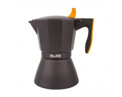 Кофеварка гейзерная на 6 чашек для всех типов плит IBILI Sensive 622206, ручка оранжевая