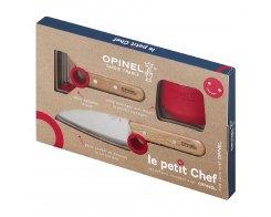 Набор ножей Opinel Le Petit Chef Set (Нож шеф-повара+нож для овощей+защита пальцев), дерево красный, нержавеющая сталь