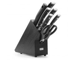 Набор ножей 5 предметов мусат и ножницы на деревянной подставке Wuesthof Classic Ikon 9878 WUS