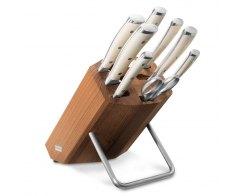 Набор  ножей 6 штук с мусатом и ножницами на деревянной подставке WUESTHOF Ikon Cream White 9879 WUS
