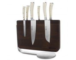 Набор кухонных ножей 6 штук на деревянной, магнитной подставке Wuesthof Ikon Cream White 9884-0