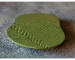 Чугунная подставка под чайник IWACHU 17433, 12,5х11,5 см. облако, цвет зеленый