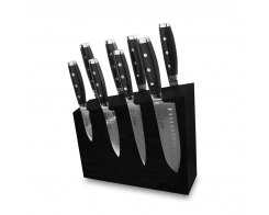 Набор из 8-ми кухонных ножей на подставке из дуба, Yaxell Gou 101, YA/GOU-KS004SOBL