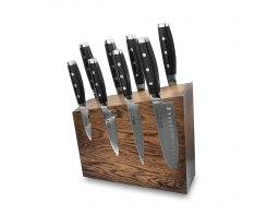 Набор из 8-ми кухонных ножей на подставке из дуба, Yaxell Gou 101, YA/GOU-KS004SOB